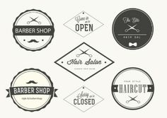 This is a black and white set of Trendy Barber Shop Vector Labels. The set has a simultaneously classic look and a trendy vibe that you'll love. Open Hairstyles, Retro Hairstyles, Barber Shop Haircuts, Hair Salon Logos, Fashion Vector, Vintage Logo, Shop Logo, Beauty Shop, Graphic Design Inspiration