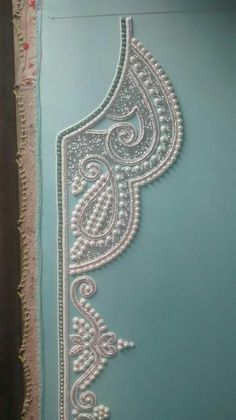 Close up work aqua green pearl work 2016 caftan journey Pearl Embroidery, Tambour Embroidery, Bead Embroidery Patterns, Couture Embroidery, Embroidery Fashion, Hand Embroidery Designs, Embroidery Dress, Embroidery Stitches, Sewing Patterns
