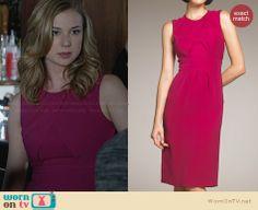 Emily's pink crossover front dress on Revenge.  Outfit Details: http://wornontv.net/30685/ #Revenge