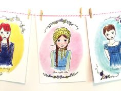 LOVE! Literary Wall Art  illustrated  Girls Room by CarrotTopPaperShop