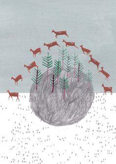 Jumping deer. Limited edition art print. Illustration.  Wall decor.