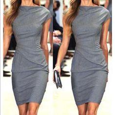 NWOT Grey round neck short sleeve dress Please see photo above. Gelud2uan Dresses