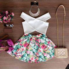 Off Shoulder Crop Top Floral Skirt Set