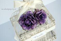 Custom Large Wedding Bird Cage Card Holder - Vintage Purple & Ivory.