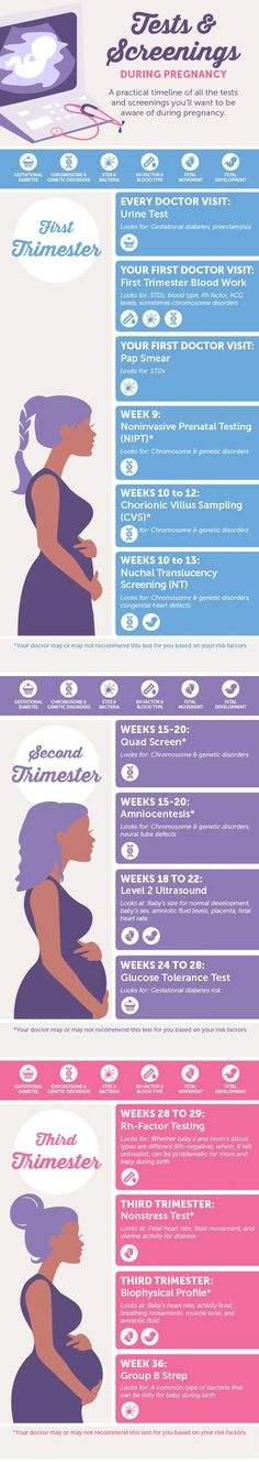 Infographic: Pregnancy Tests & Screenings preparing for pregnancy prepar for pregnancy #baby #pregnancy