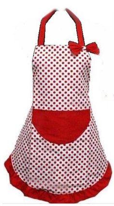 Red Polka Dot Full Adult Apron Cooking Baking Kitchen