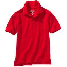 George Boys School Uniforms Short Sleeve Pique Polo Shirt, Boy's, Size: XS (4/5), Red