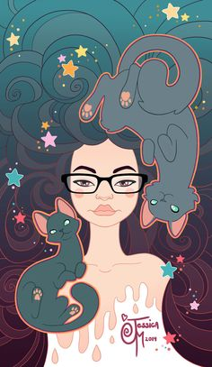 Self Portrait Colored by MeoMai on DeviantArt- without the cats Evvi Art, Wow Art, Arte Pop, People Art, Character Design Inspiration, Amazing Art, Awesome, Art Reference, Art Drawings