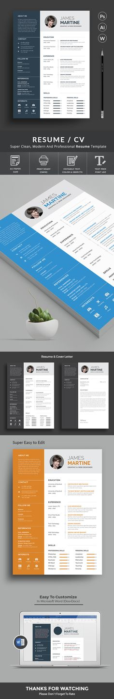Creative Resume Template Design Templates slides Pinterest - design resume templates