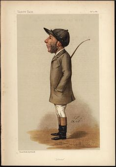 John Osborne Jockey Horse Racing Caricature 1887 old VANITY FAIR COLOR print #Vintage