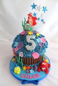 Disney's The Little Mermaid cake by Caroline Shaw, Huddersfield Little Mermaid Cakes, Little Mermaid Birthday, Little Mermaid Parties, The Little Mermaid, 5th Birthday Cake, Cake Designs, Icing, Amazing Cakes