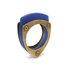 Oxidized Bronze and Cobalt Blue Resin Riveted Ring  by mkwind, $50.00