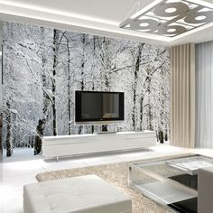 Large wall murals papel de parede snow birch trees forest photo wallpaper mural…
