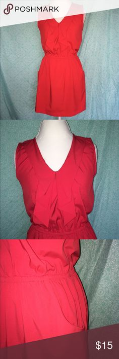 Little Red Dress Pretty red dress with bow collar, elastic waistband and POCKETS!!! 96% polyester 4% spandex Dresses Midi