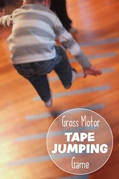 saving this for cold or snowy winter days! Finally a super simple way to burn off all that extra energy! Check out this simple DIY gross motor tape jumping activity. Physical Activities For Kids, Sensory Activities Toddlers, Gross Motor Activities, Outdoor Activities For Kids, Gross Motor Skills, Infant Activities, Toddler Preschool, Preschool Activities, Movement Activities