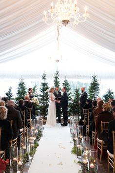 Wedding Ceremony Ideas, Winter Wedding Ceremonies, Tent Wedding, Ceremony Backdrop, Ceremony Decorations, Dream Wedding, Winter Weddings, Flowers Decoration, Wedding Venues