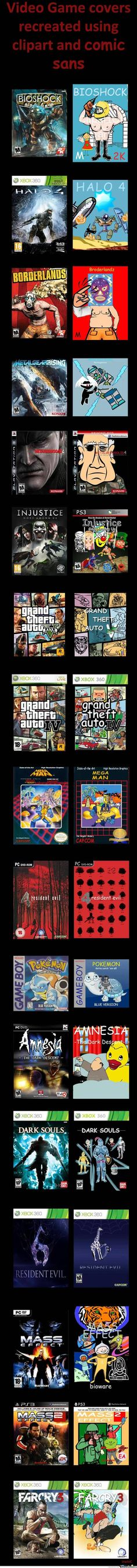 Video Game covers recreated using clipart via Reddit user ItsChadReddit