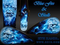 Blue Realistic Fire & Skulls Custom Harley Davidson Motorcycle Paint