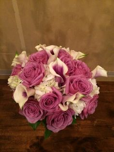 lavender roses, Picasso calla lilies and Hydrangea