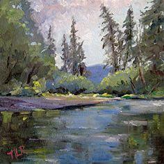 Andrej's River, 8 x 8, oil by Nancy Romanovsky