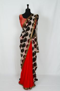 Funky Polka Dot Saree by LotusXXII on Etsy, $165.00. Use coupon code ARU22