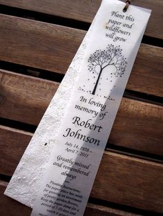 100 Plantable Seed Paper Bookmarks Memorial by recycledideas