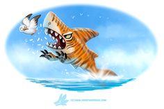 Daily Paint #1257. Tiger Shark...or Shark Khan? by Cryptid-Creations.deviantart.com on @DeviantArt