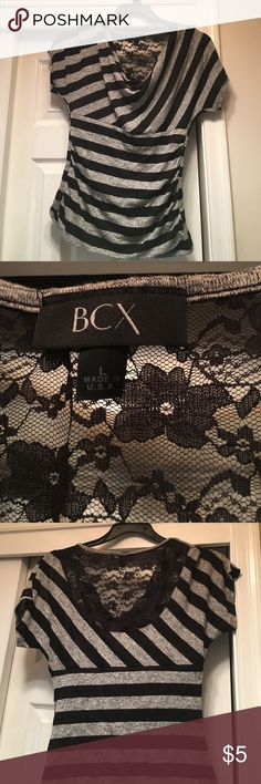 BCX shirt size Large BCX stripped black and grey shirt  with lace in back. Size Large BCX Tops Blouses