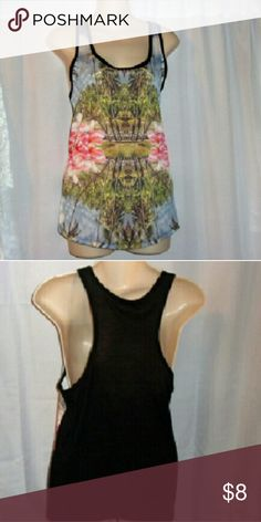 "Forever 21 tank scenic print sz small Bust 37"". Length 25""  loose oversized fit. Polyester.  Ack poly rayon. Forever 21 Tops Tank Tops"
