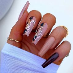 Cute Acrylic Nail Designs, Best Acrylic Nails, Unique Nail Designs, Acrylic On Natural Nails, Dope Nail Designs, New Nail Art Design, Aycrlic Nails, Glue On Nails, Edgy Nails