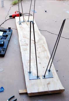 raw steel hairpin legs from hairpinlegs.com - Our DIY live edge entry table