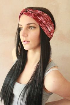 Turban Twist - Turban Headband, Boho Headband, Hippie Headband, Workout headband, Sweatband, Headwrap, Fabric Hairband - Redish Print