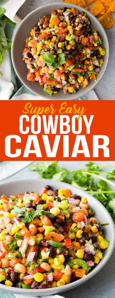 Delicious and easy cowboy caviar, a bean and avocado salsa that will blow your mind. #chipdip #cowboycaviar #gamedayfood
