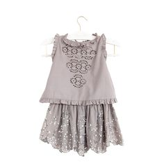 4ad306ba0c1 Eyelet daisy top and sequin hearts skirt elephant grey