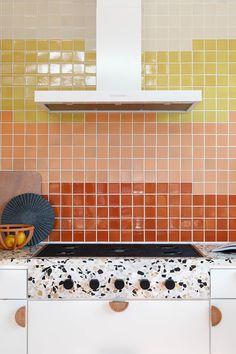 All the Biggest Design Trends in One Tiny U-Shaped Kitchen Herringbone Backsplash, Mosaic Backsplash, Mosaic Tiles, Fireplace Frame, Fireclay Tile, U Shaped Kitchen, Good Morning Sunshine, Orange Walls, Handmade Tiles