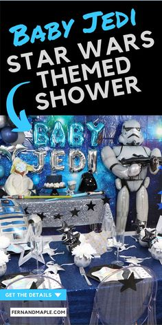 Fun Star Wars themed Baby Shower Ideas, including a DIY Baby Yoda Diaper Cake, signs, table settings, place cards and more. Get details now at fernandmaple.com!