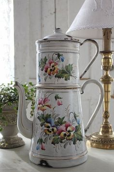 French antique enamelware coffee pot