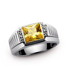 Mens Ring Natural CITRINE and GENUINE DIAMONDS in 925 Sterling Silver, Mens Gemstone Ring, Fine Mens Jewelry by ATAjewels on Etsy