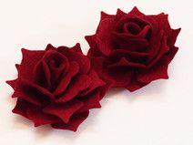Set 2 Rose 3D in Feltro XXL Colore Bordeaux