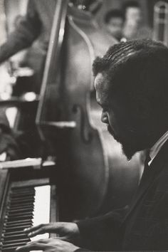 """""""Charles Simic, when asked what he thought of Slam Poetry events: """"They are fun, but they have as much to do with poetry as Elvis Presley had to do with Charlie Parker and Thelonious Monk."""" ~ Remembering American jazz pianist and composer, Thelonious Sphere Monk at 98 years (Libra: October 10, 1917 – February 17, 1982). // As pictured: Thelonious Monk, Photograph by W. Eugene Smith"""