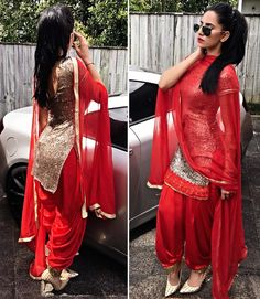 Always look adorable in Patiala Suit so girls ready to wear . Designer Punjabi Suits, Indian Designer Wear, Punjabi Fashion, Asian Fashion, Indian Attire, Indian Wear, Indian Dresses, Indian Outfits, Patiala Suit