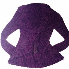 Apt.9 Sweater Knit Cardigan Size small. Cotton blend. Dark purple, black / sparkle threading. Open front. Extremely comfortable. Apt. 9 Sweaters Cardigans