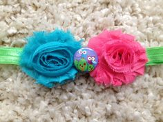 Pink Blue and Green Shabby Flower Infant by HannahHeadbands, $8.00