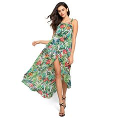Green Loose Halter Sleeveless Irregular Hem Floral Print Maxi Casual Dress