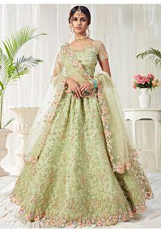 Pastel Green Embroidered Net Bridal Lehenga Choli