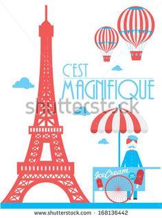 eiffel tower paris ice cream cart hot air balloon vector/illustration by lyeyee, via Shutterstock
