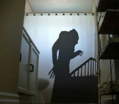 Beware when you shower for Nosferatu is never far way. The Nosferatu shower curtain is the handmade item made for cinema buffs and horror movie freaks – the curtain keeps your bathroom nice and dry while an ominous Nosferatu shaped shadow lurks about. Custom Shower Curtains, Fabric Shower Curtains, Holidays Halloween, Halloween Decorations, Halloween Stuff, Halloween Ideas, Halloween Makeup, Samhain Decorations, Halloween Rocks