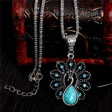 Free Shipping Fashion Ladies Charming Lovely Peacock Turquoise Stone Pendant Necklace chain Jewelry(China (Mainland))