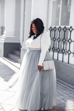 Musings of a Curvy Lady, Plus Size Fashion, Fashion Blogger, Style Blogger, Tulle Skirt, Grey Tulle Maxi Skirt, Society+, Lane Bryant, Atlanta, Georgia, Women's Fashion