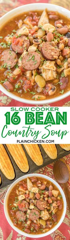 Slow Cooker 16 Bean Country Soup - absolutely DELICIOUS!!! Just dump everything in the slow cooker and let it work its magic! Smoked sausage, roasted turkey, 16 bean soup mix, tomatoes and seasonings. All you need is some cornbread and you have an easy weeknight meal. Freeze leftover for a quick meal later!! Great way to use up leftover holiday turkey!